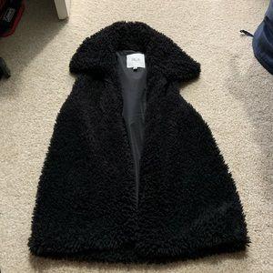 Anthropologie Black Fur Vest Size XS